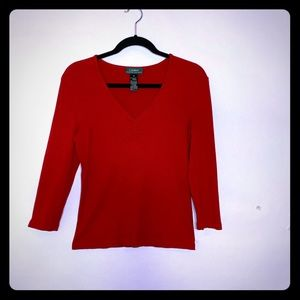 RALPH LAUREN RED RAYON 3/4 SLEEVE vV NECK TOP